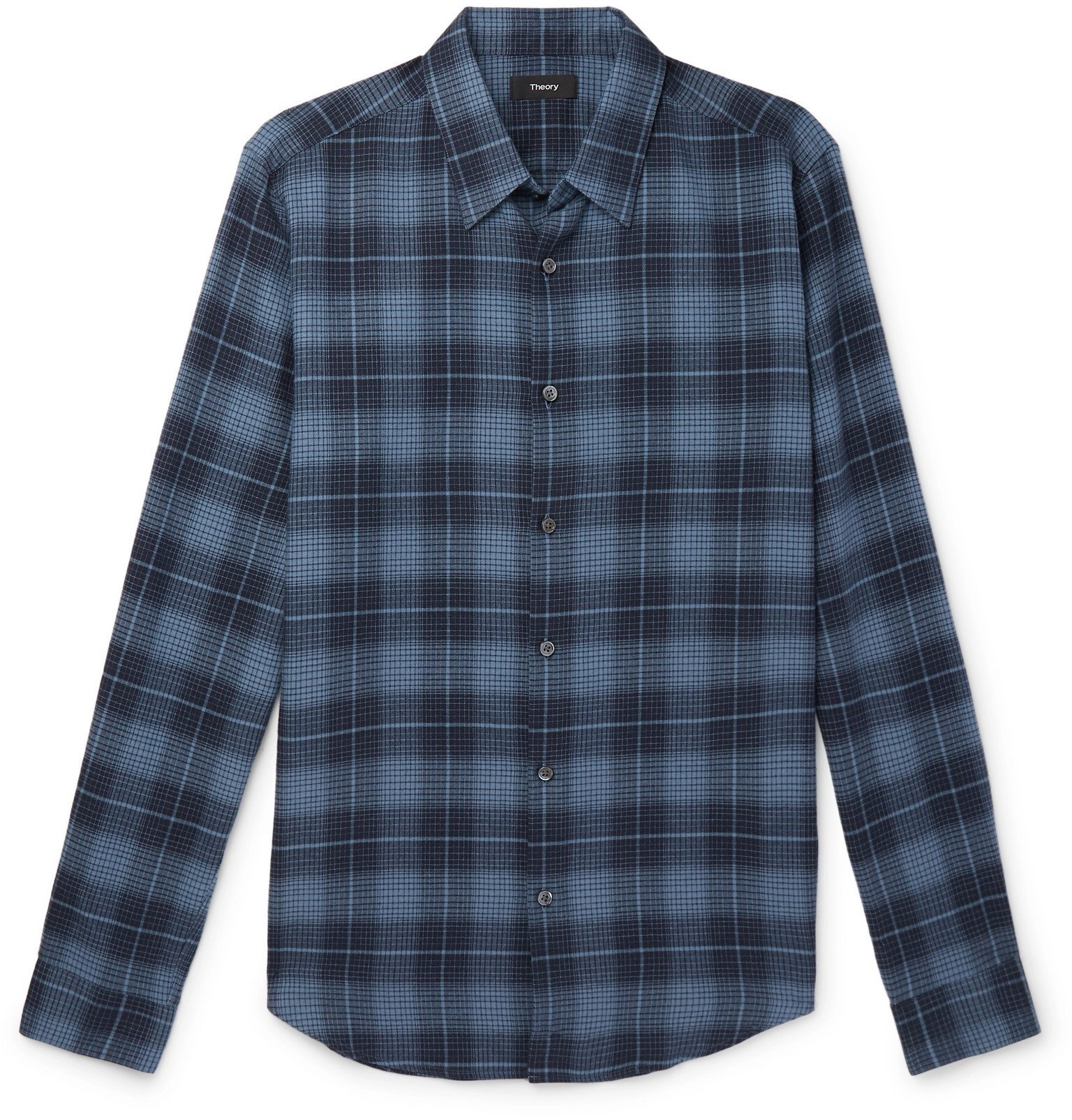 Photo: Theory - Irving Checked Cotton-Flannel Shirt - Blue