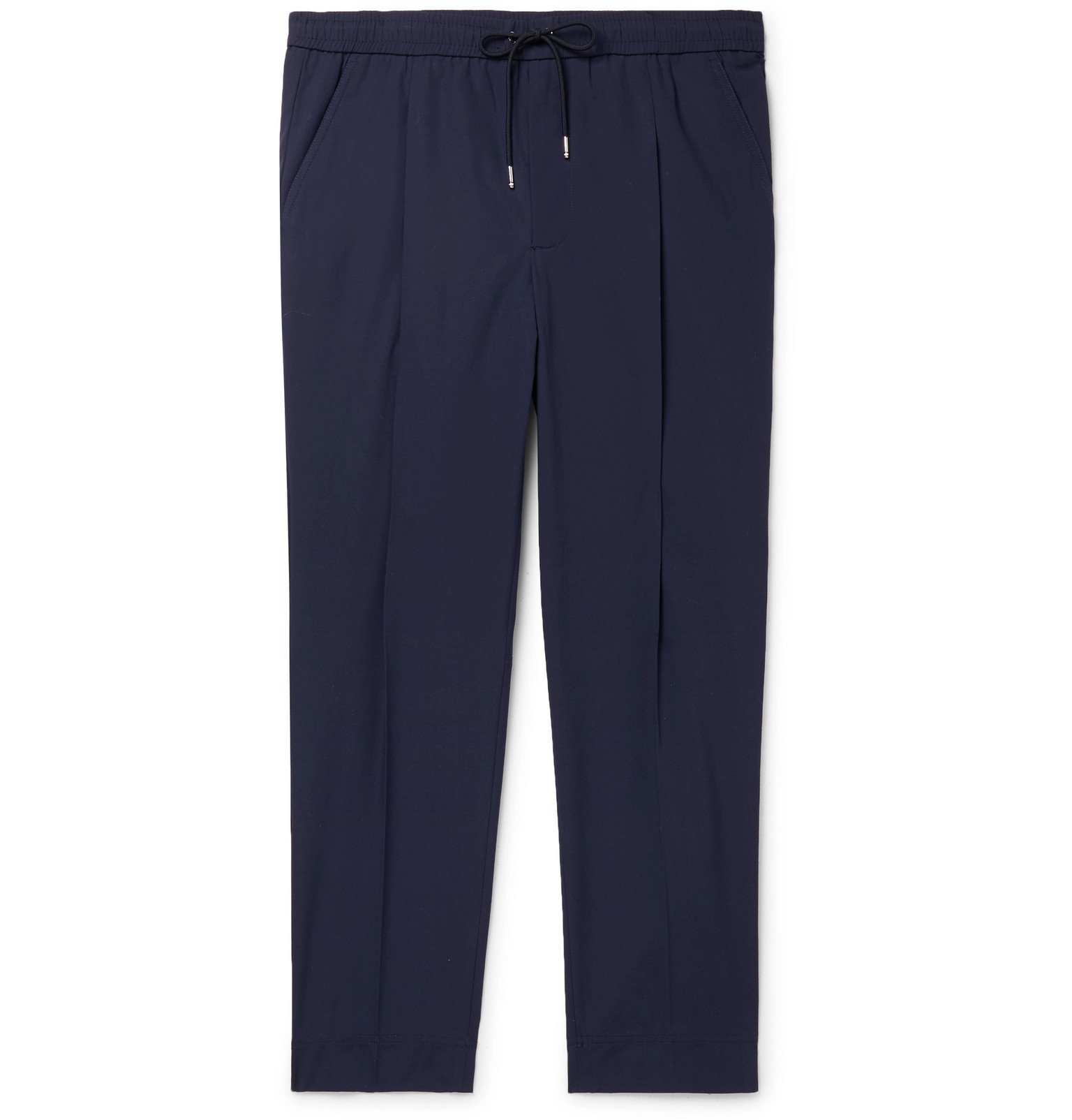 Photo: Moncler - Tapered Stretch-Cotton Track Pants - Blue