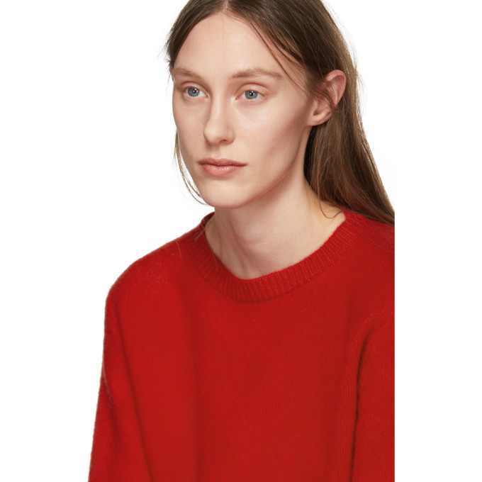 The Elder Statesman Red Cashmere Simple Line Cropped Sweater
