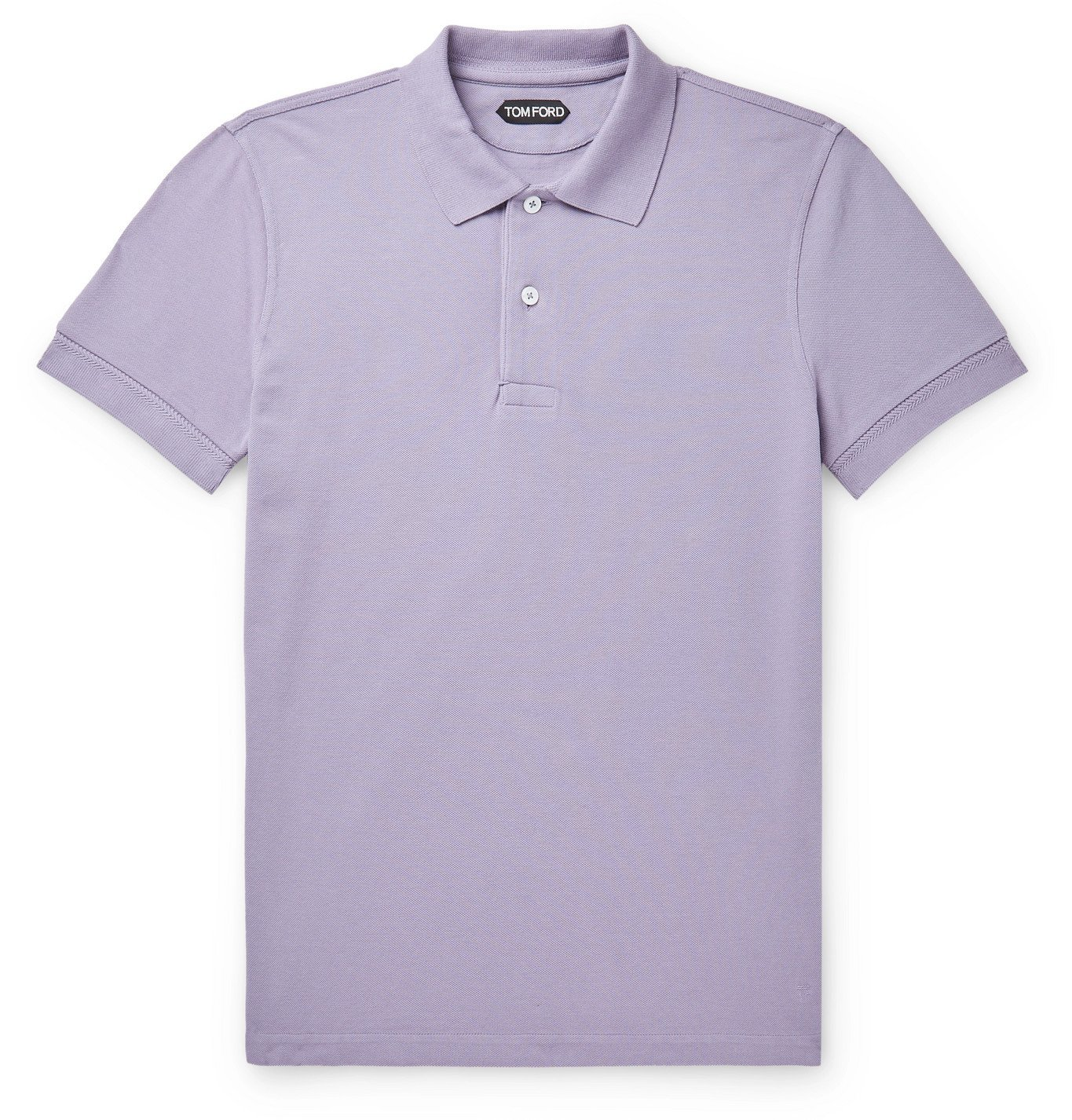 Photo: TOM FORD - Slim-Fit Cotton-Piqué Polo Shirt - Purple