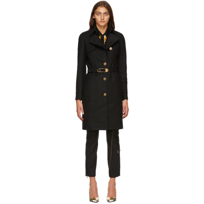 Photo: Versace Black Belted Safety Pin Coat