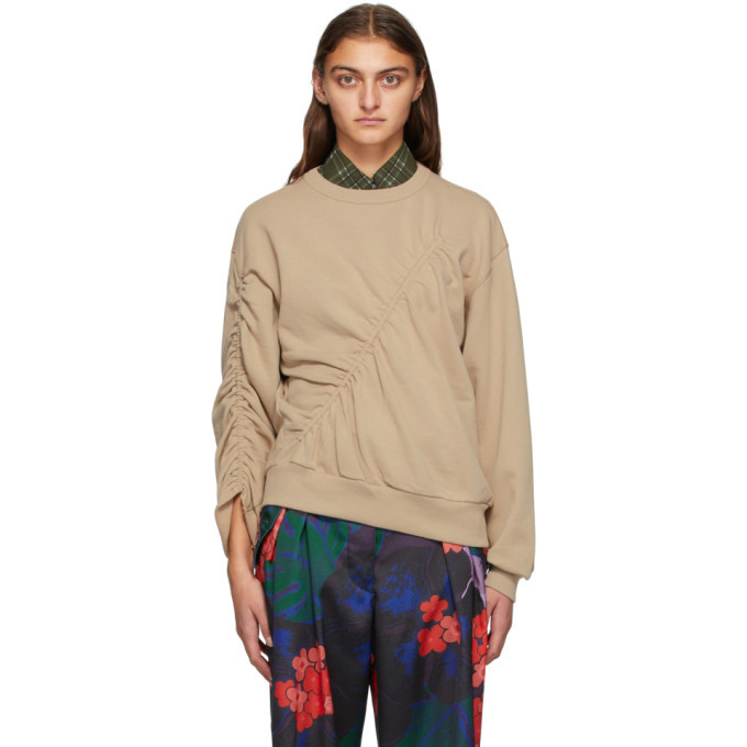 Photo: Dries Van Noten Taupe Ruched Sweatshirt