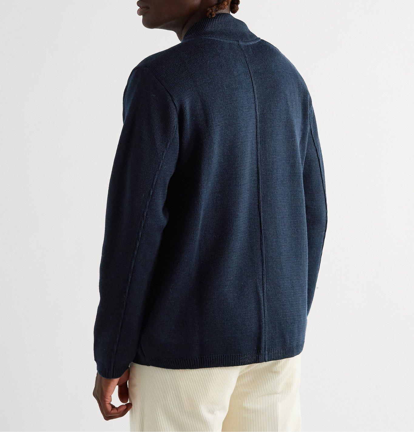 Universal Works - Merino Wool-Blend Zip-Up Cardigan - Blue