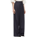 Nina Ricci Navy Wool Striped Oversized Trousers