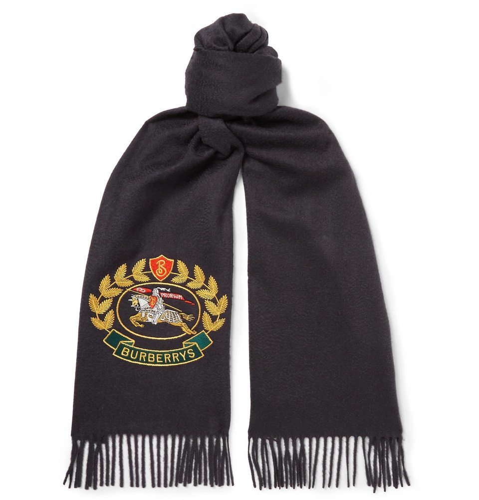 Photo: Burberry - Fringed Embroidered Cashmere Scarf - Men - Navy
