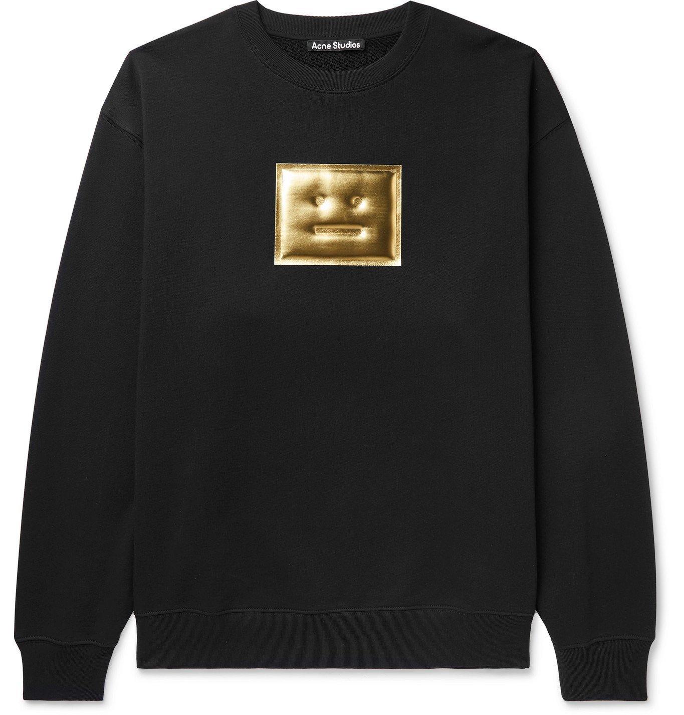 ACNE STUDIOS - Forba Oversized Iridescent Logo-Detailed Loopback Cotton-Jersey Sweatshirt - Black