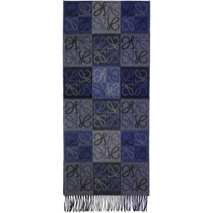 Photo: Loewe Blue and Grey Logo Anagram Scarf