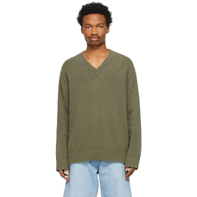 Photo: Acne Studios Khaki Cotton V-Neck Sweater