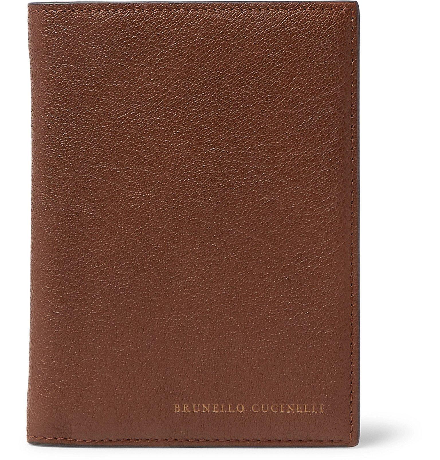 Photo: Brunello Cucinelli - Full-Grain Leather Passport Cover - Brown