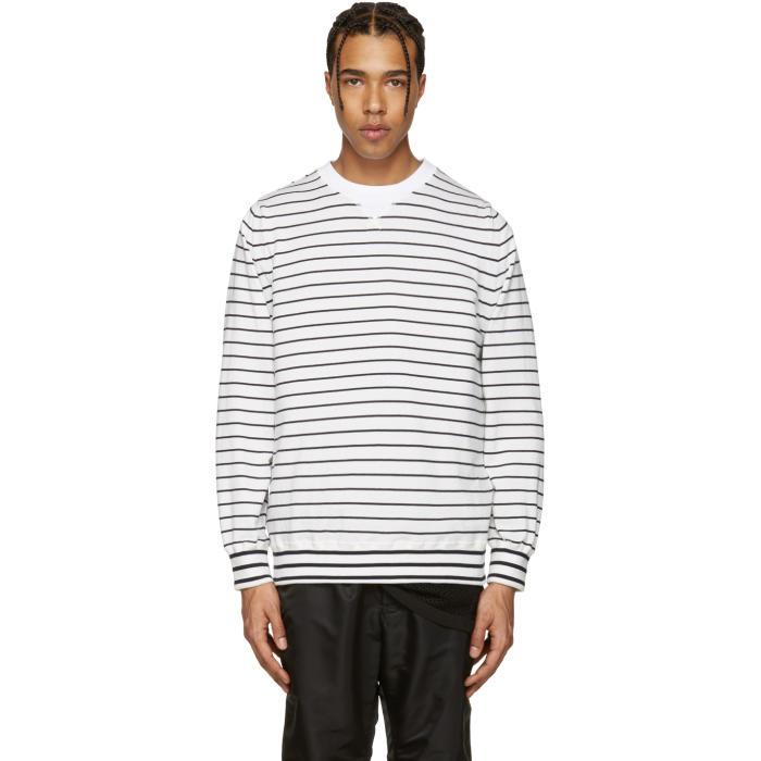 Sacai Off-White Striped Pullover
