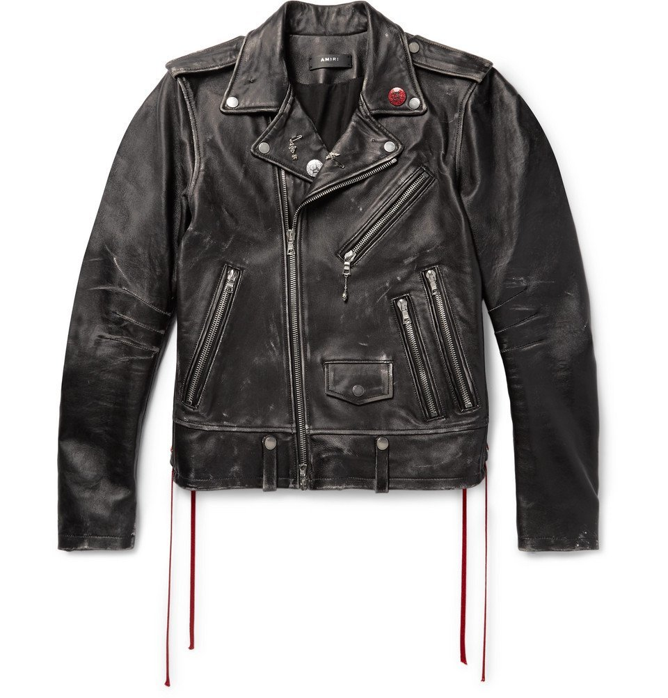 Photo: AMIRI - Distressed Embellished Leather Biker Jacket - Men - Black