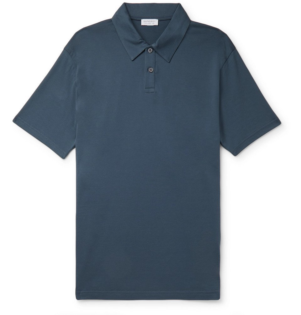 Sunspel - Cotton-Jersey Polo Shirt - Blue