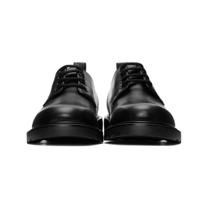 Valentino Black Valentino Garavani V-Logo Leather Derbies