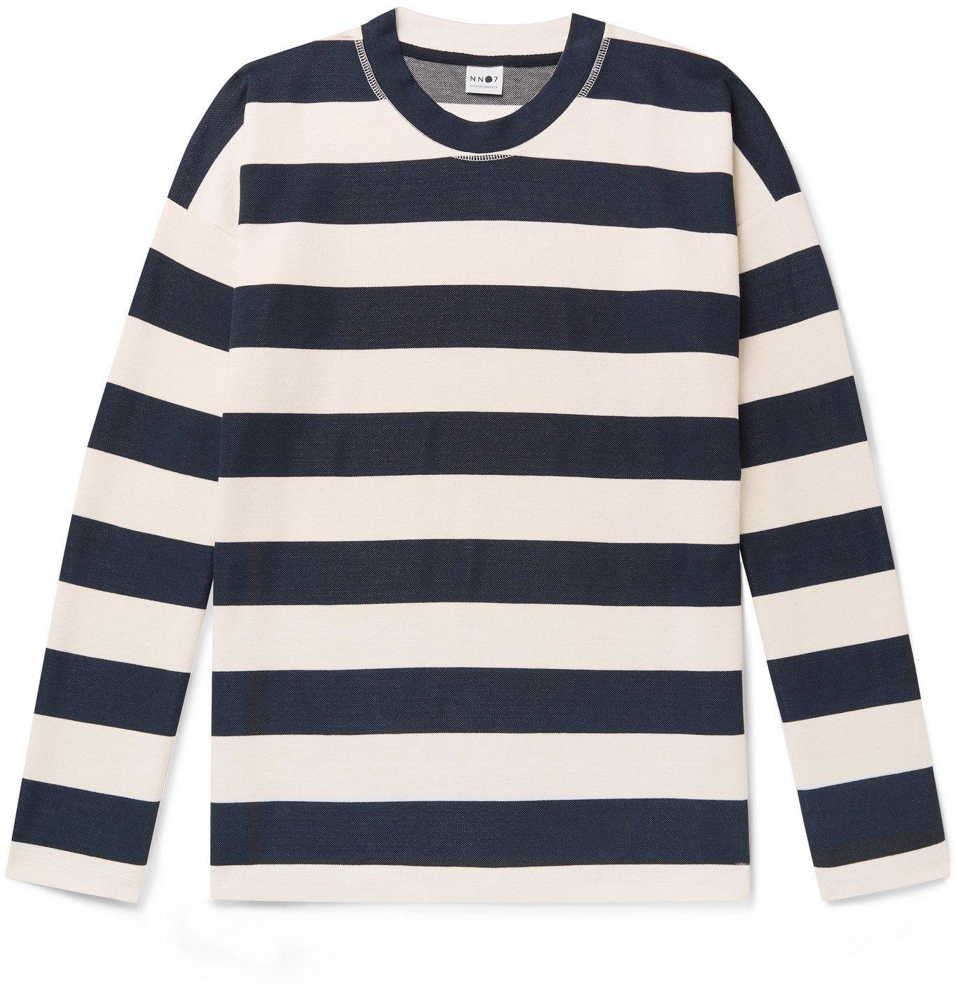 Photo: NN07 - Benja 3462 Striped Piqué T-Shirt - Blue
