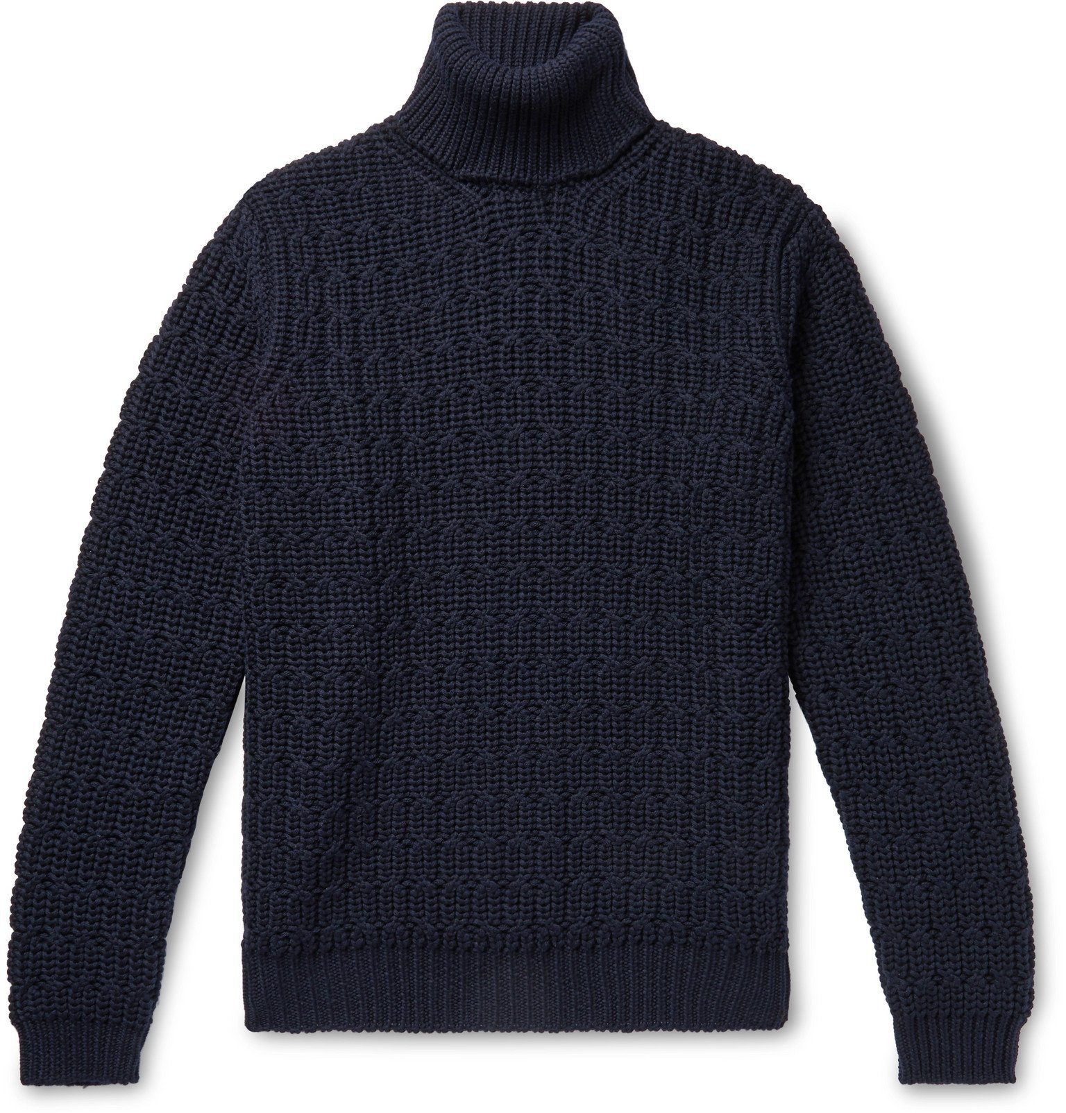 Photo: Tod's - Cable-Knit Merino Wool Rollneck Sweater - Blue
