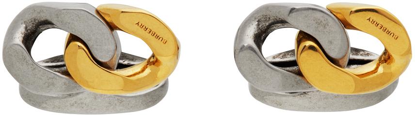 Photo: Burberry Gold & Silver Curb Chain Cufflinks
