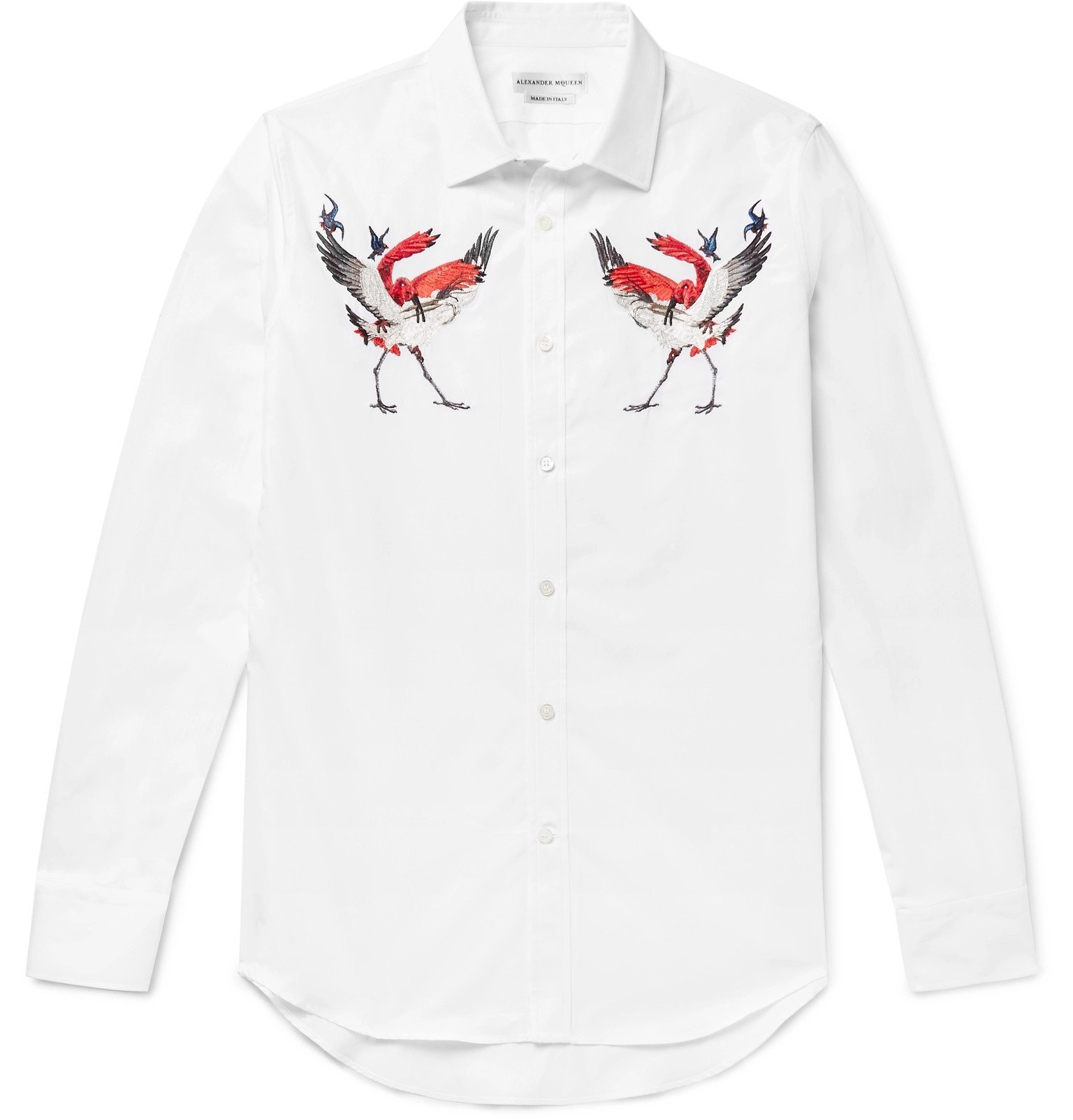 Photo: Alexander McQueen - Slim-Fit Embroidered Cotton-Poplin Shirt - White