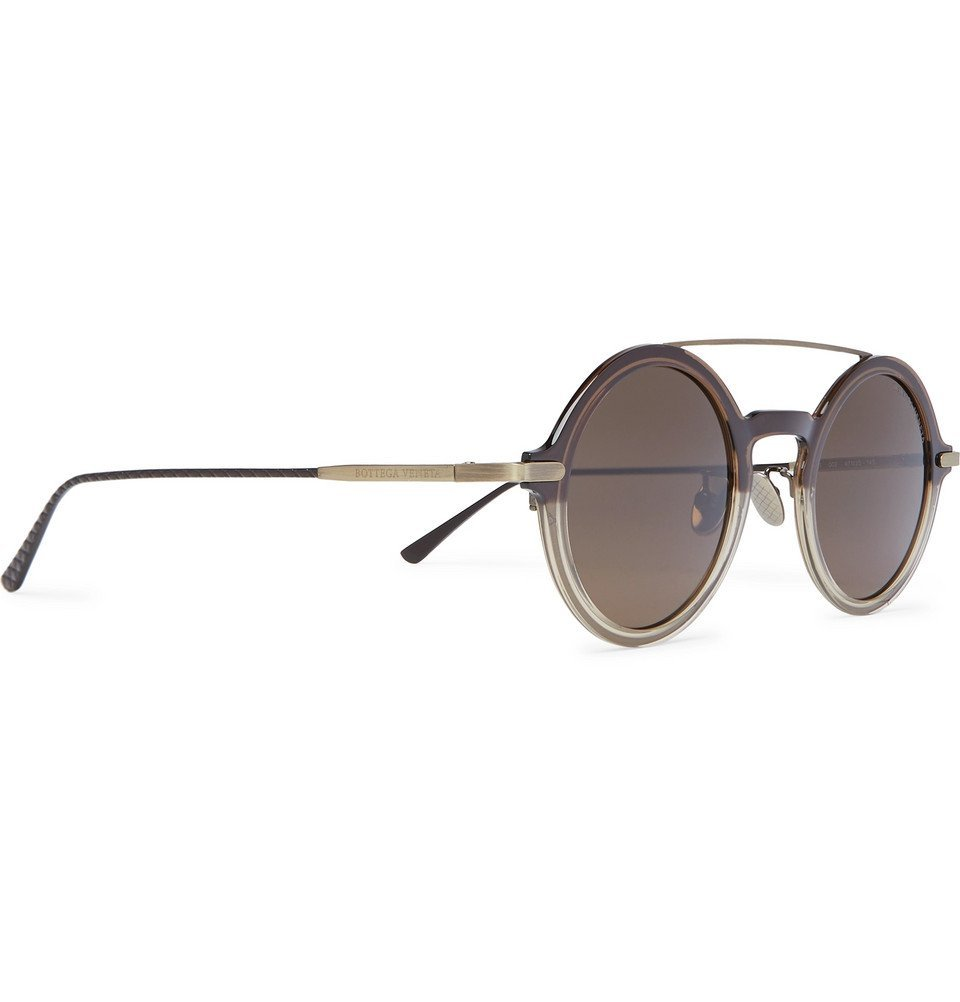 Bottega Veneta - Round-Frame Acetate and Gold-Tone Sunglasses - Brown