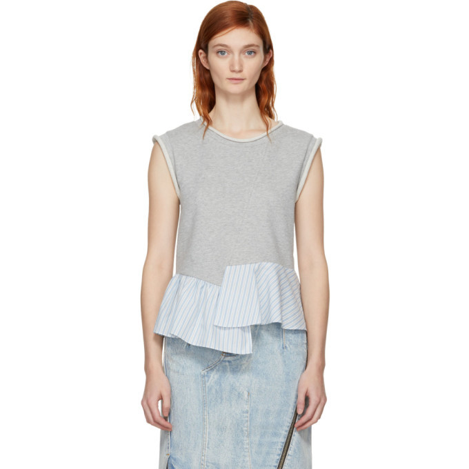3.1 Phillip Lim Grey French Terry Combo Tank Top