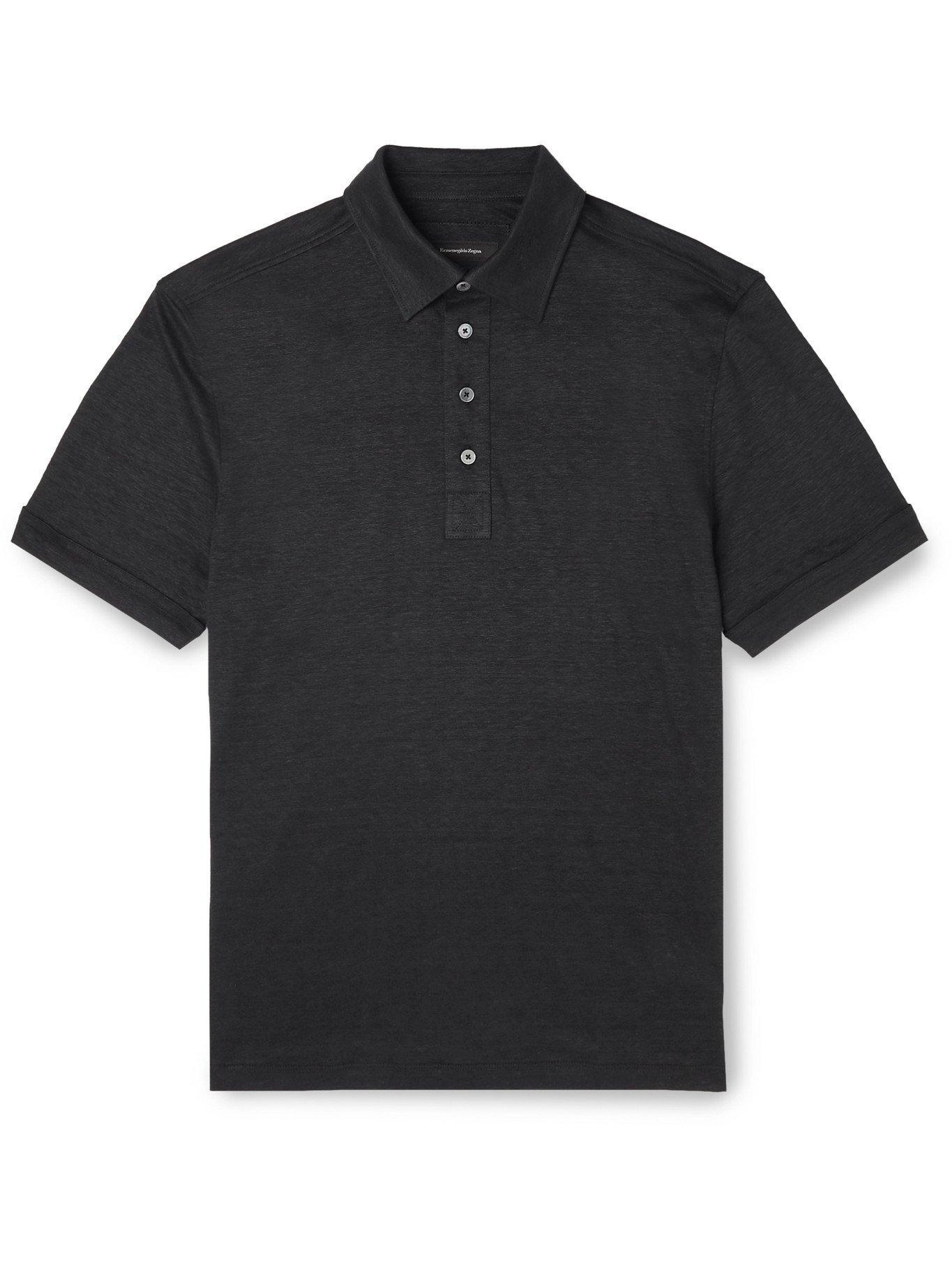 Photo: ERMENEGILDO ZEGNA - Linen Polo Shirt - Black - IT 52