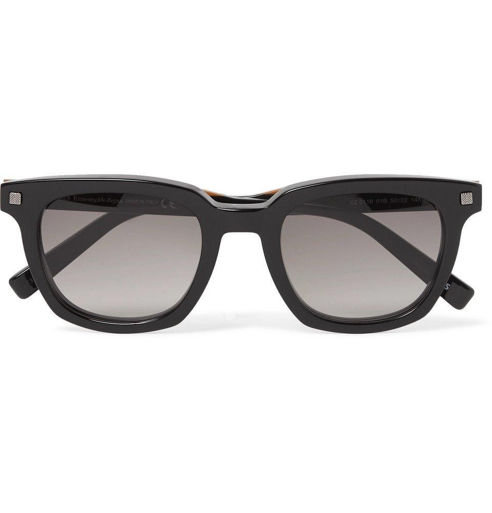 Photo: Ermenegildo Zegna - Square-Frame Acetate Sunglasses - Black