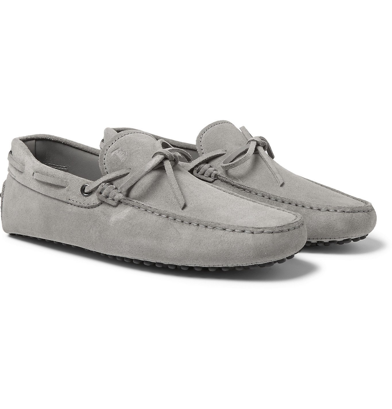 Photo: Tod's - Gommino Suede Driving Shoes - Gray