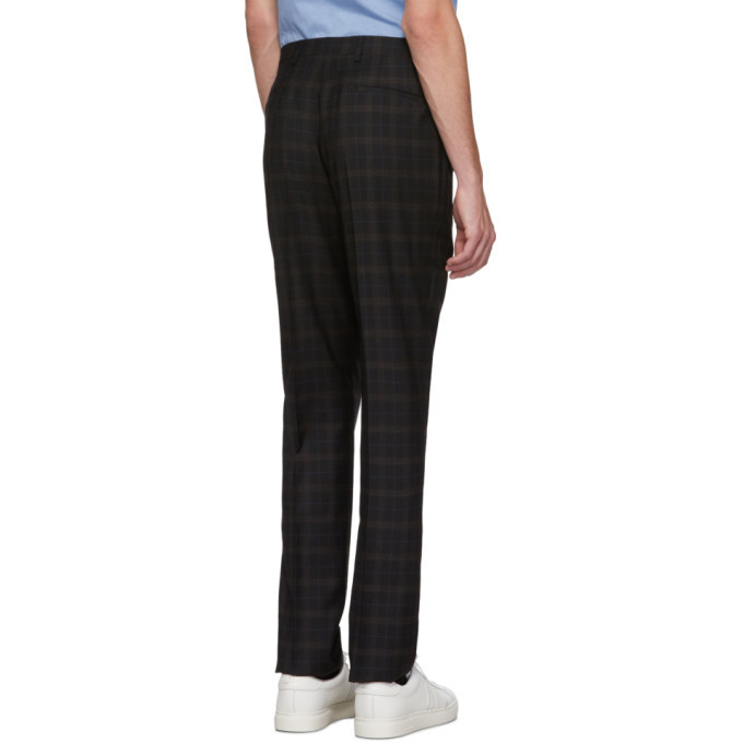 PS by Paul Smith Black and Brown Tartan Wool Mid-Rise Trousers