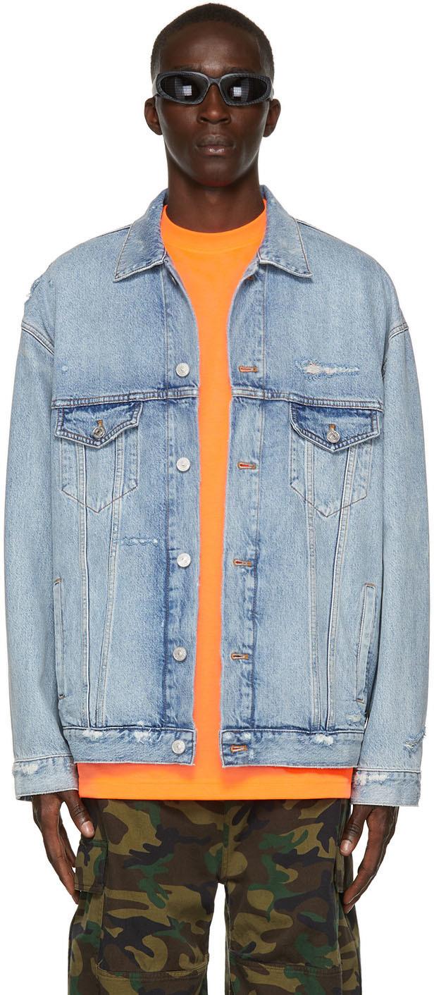 Photo: Balenciaga Blue Denim Large-Fit Jacket