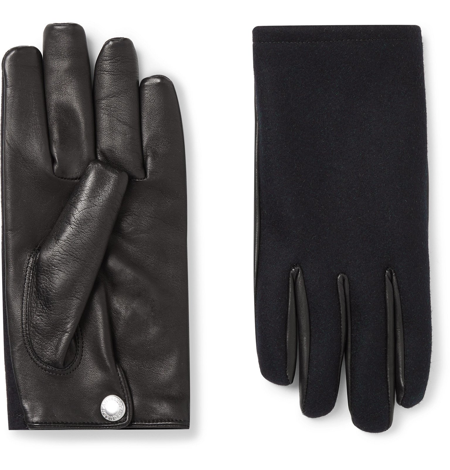Photo: Alexander McQueen - Cashmere-Lined Leather and Wool-Felt Gloves - Blue