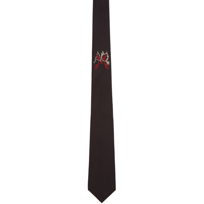 Photo: Alexander McQueen Black Folk Monogram Tie