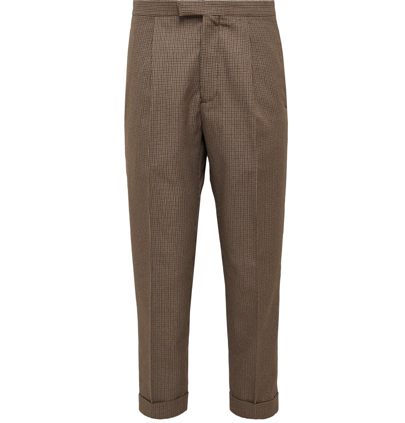 Photo: Beams Plus - Tapered Pleated Puppytooth Tweed Suit Trousers - Brown