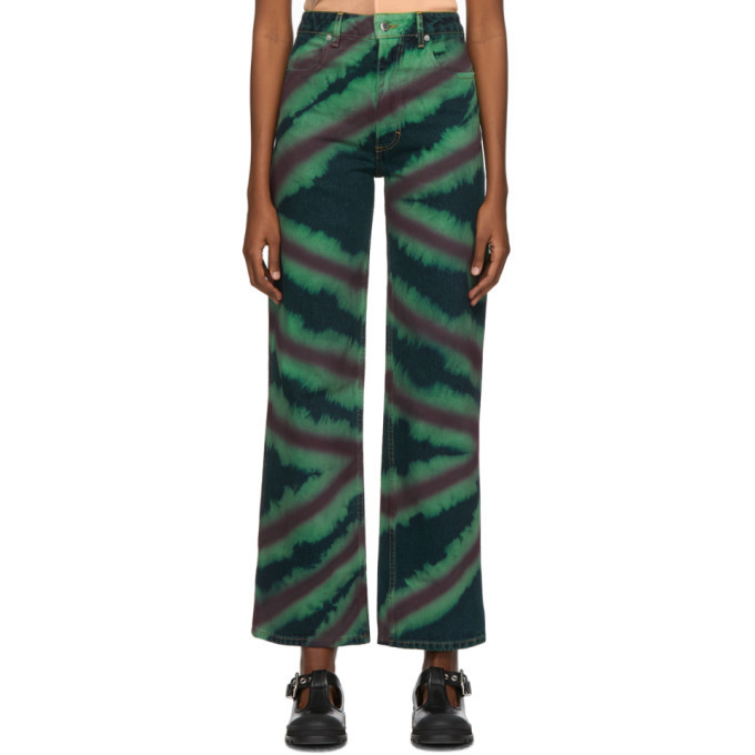 Photo: Eckhaus Latta Green and Red Directional Spray Wide Leg Jeans