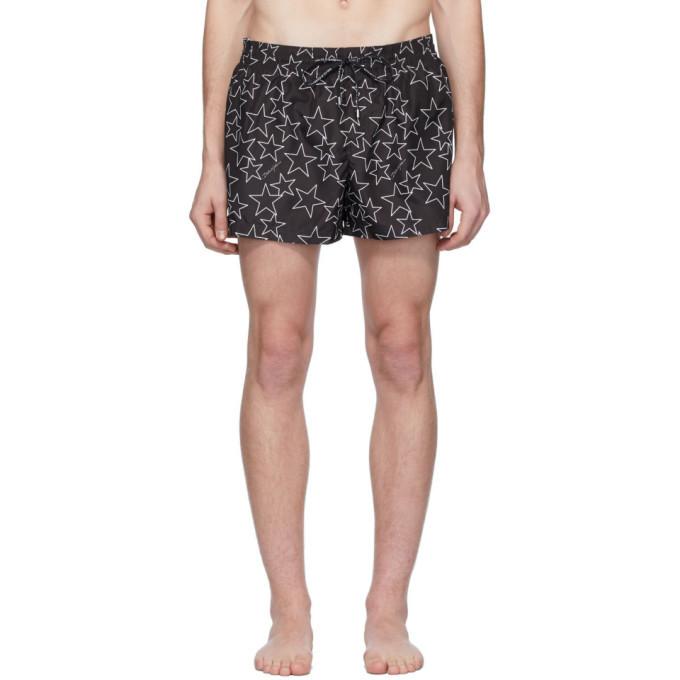 Photo: Dolce and Gabbana Black Allover Star Swim Shorts