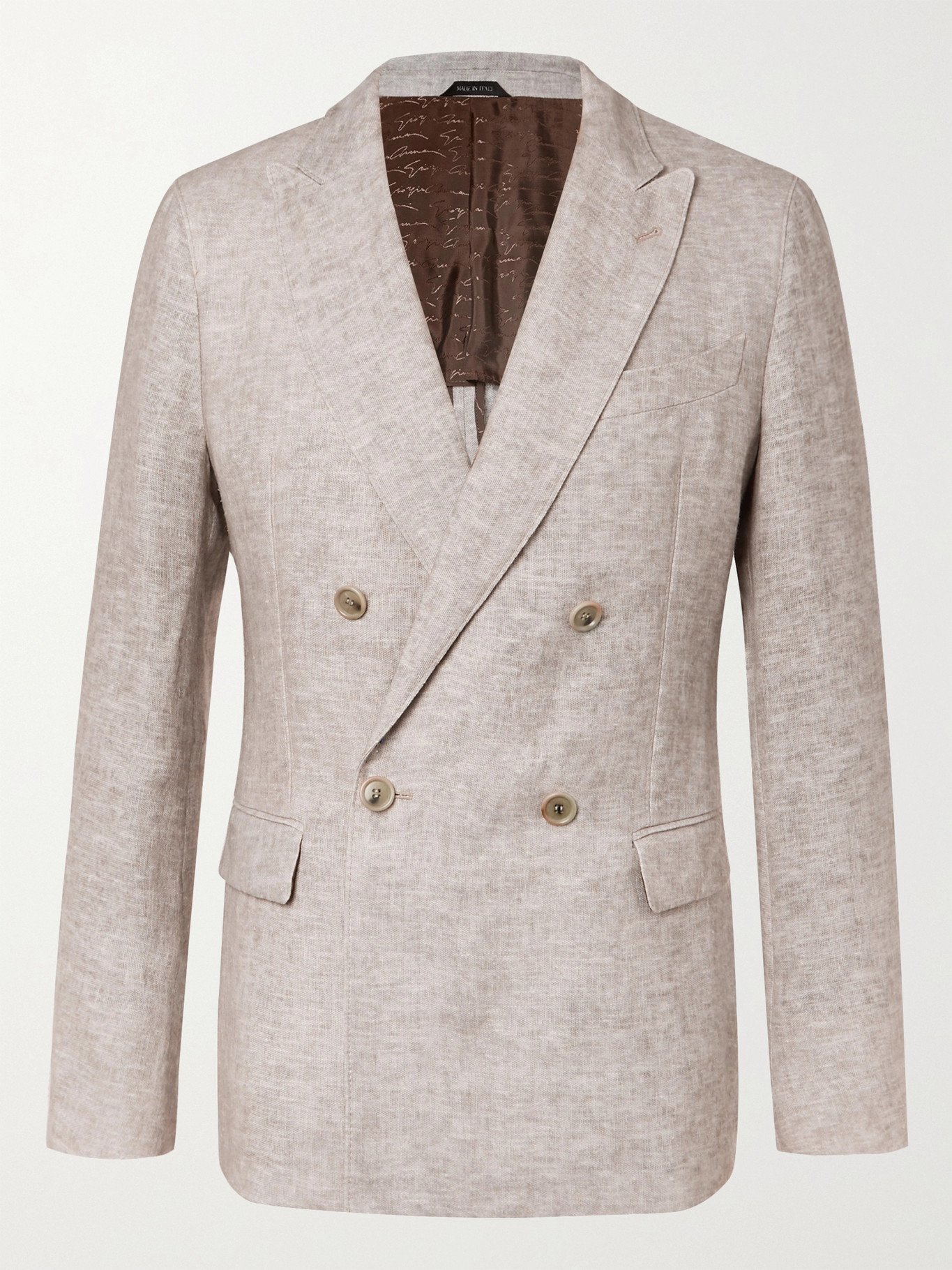 GIORGIO ARMANI - Double-Breasted Mélange Linen Suit Jacket - Gray - IT 46