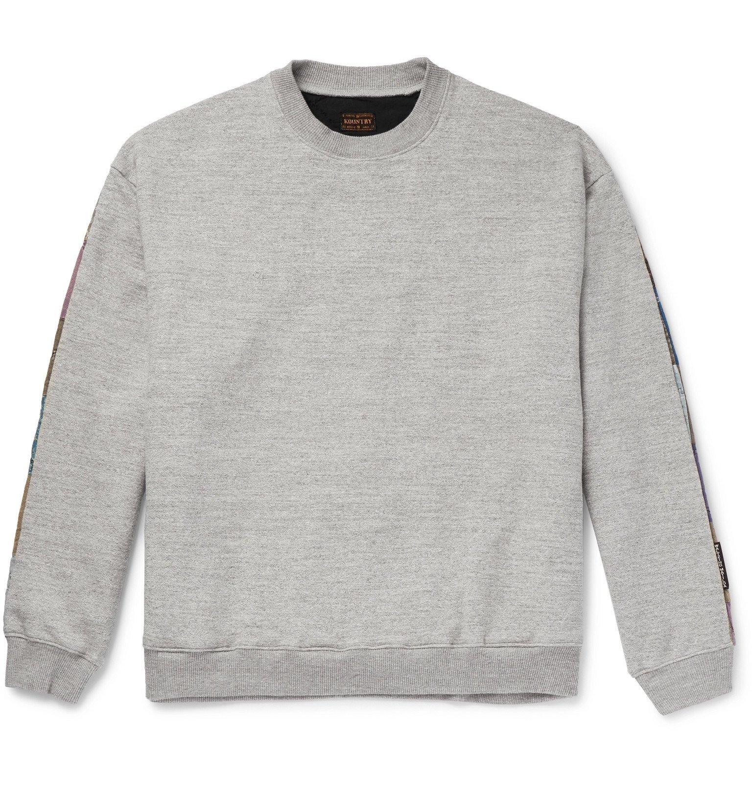 Photo: KAPITAL - Patchwork-Panelled Loopback Cotton-Jersey Sweatshirt - Gray