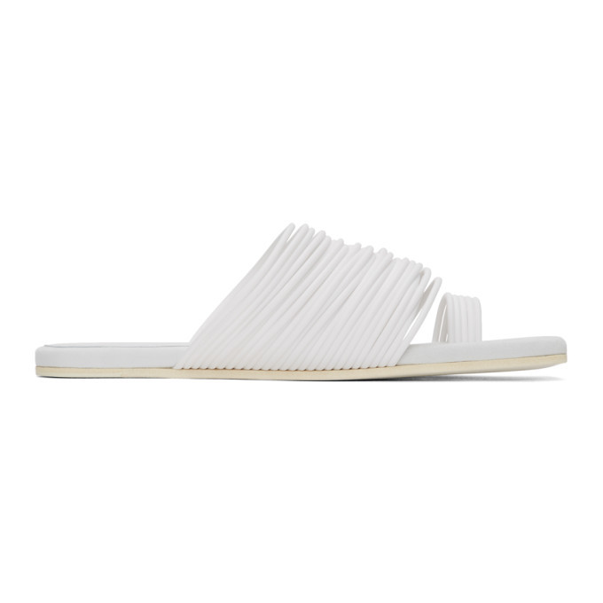Photo: MM6 Maison Margiela White Multi Strap Toe Sandals