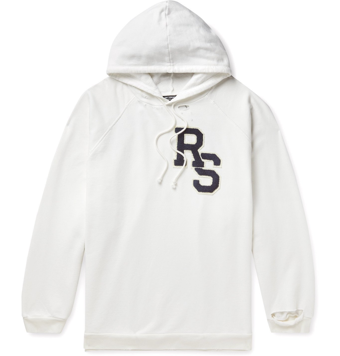 Photo: Raf Simons - Oversized Logo-Appliquéd Distressed Fleece-Back Cotton-Jersey Hoodie - Neutrals
