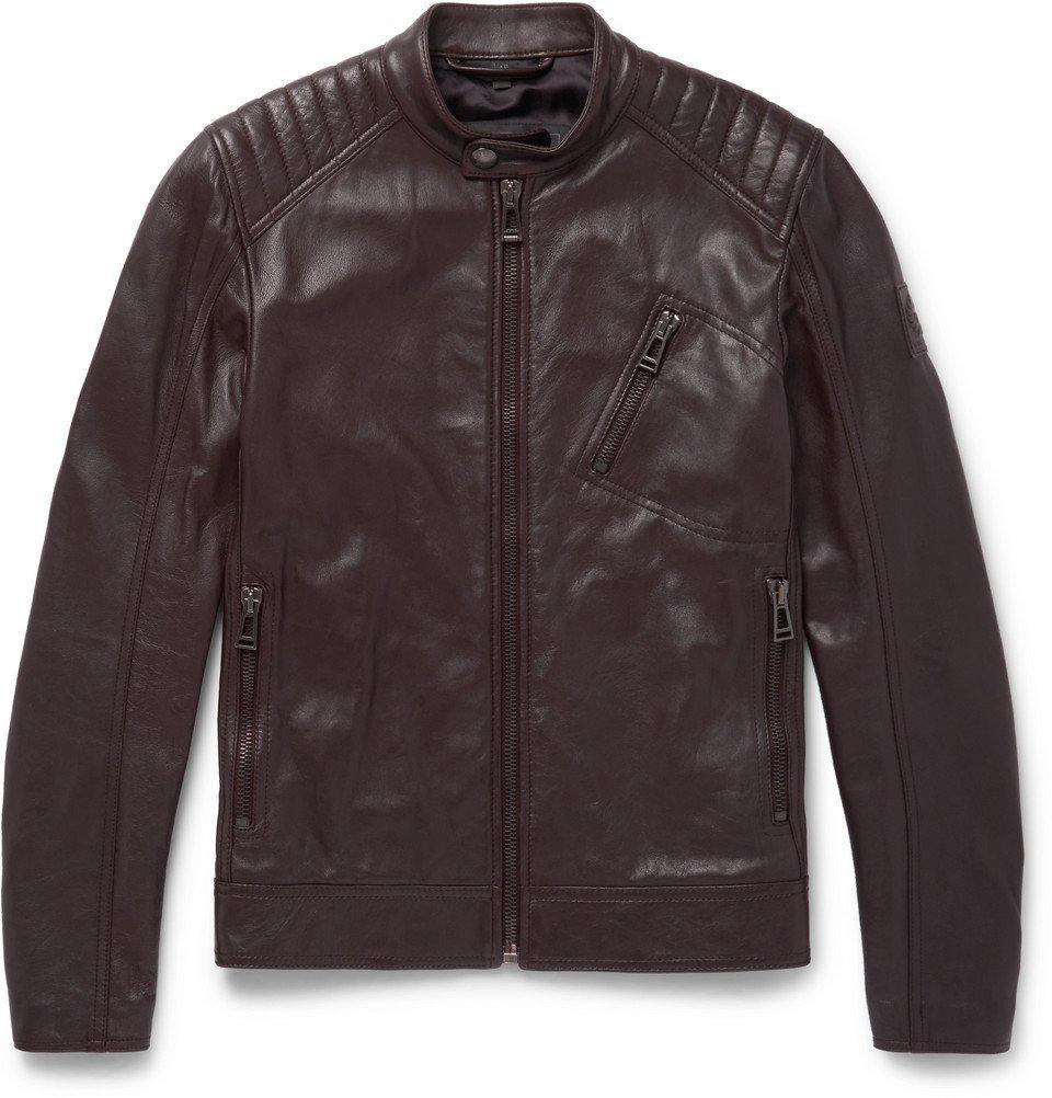 Belstaff - V Racer Slim-Fit Leather Jacket - Men - Dark brown