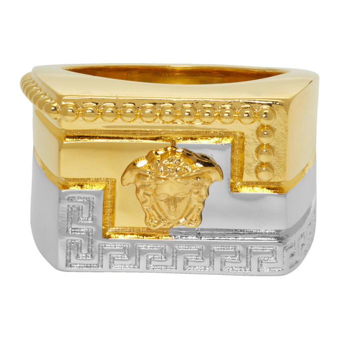Photo: Versace Gold and Silver Meander Ring