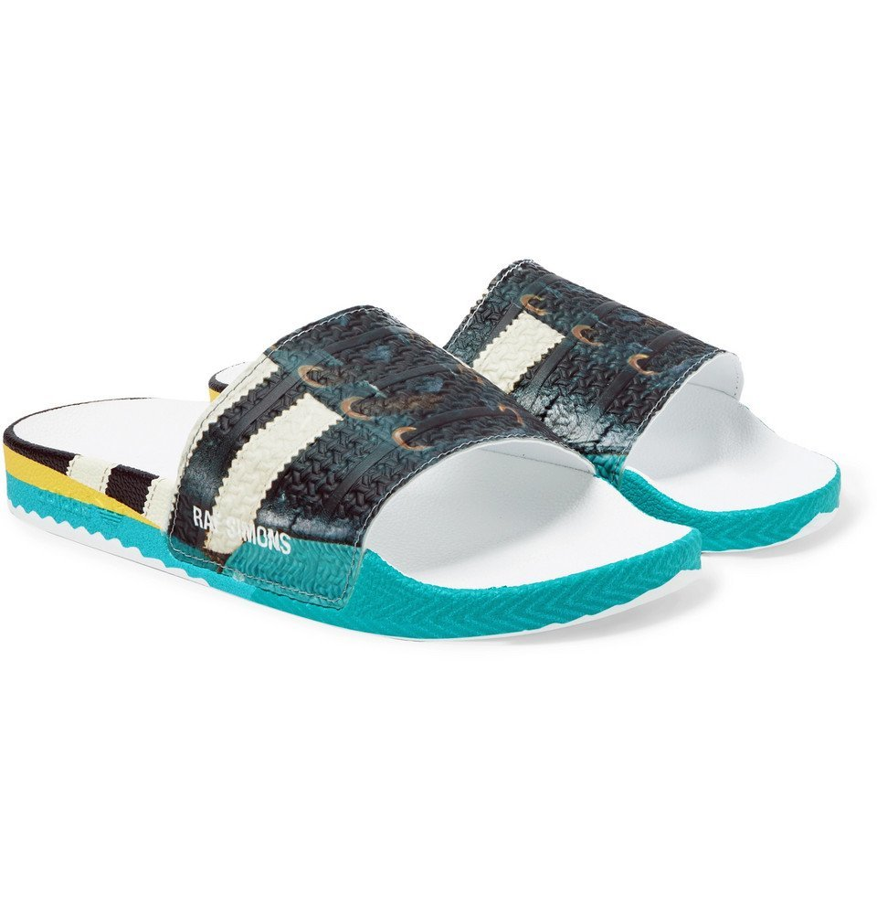 Photo: Raf Simons - adidas Originals Samba Adilette Printed Textured-Rubber Slides - Multi