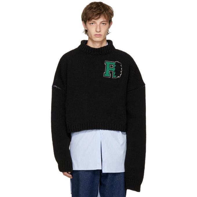 Photo: Raf Simons Black Cropped University Badge Sweater