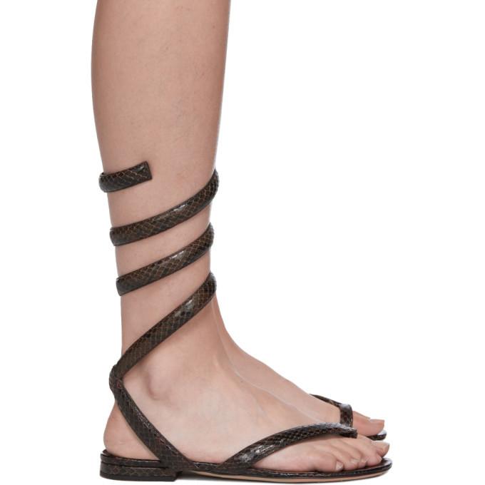Photo: Bottega Veneta Brown Python Spiral Sandals