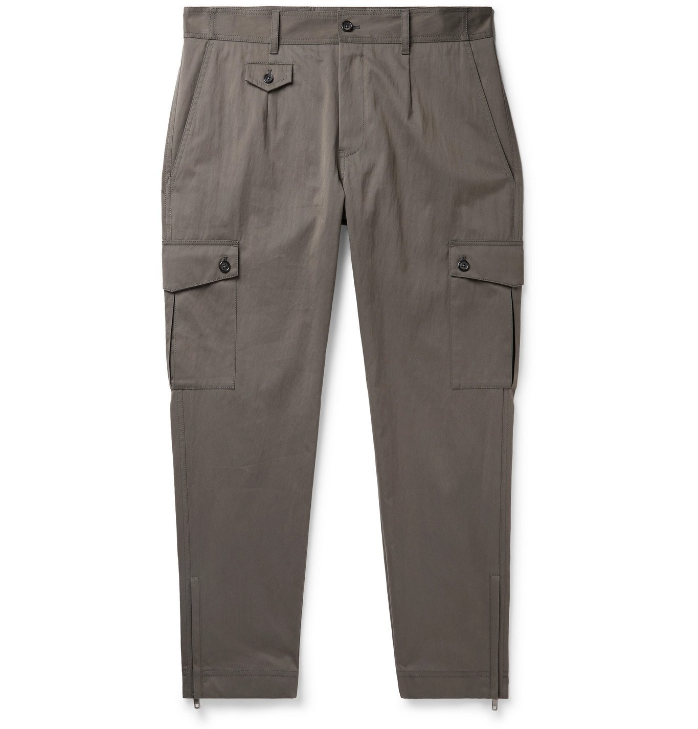Photo: Dolce & Gabbana - Slim-Fit Cotton-Blend Twill Cargo Trousers - Gray