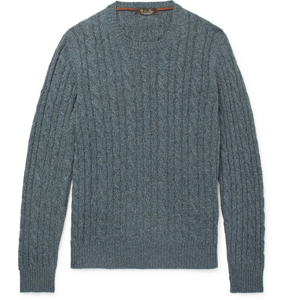 42cd45533c1a Loro Piana - Slim-Fit Cable-Knit Mélange Baby Cashmere Sweater - Men ...