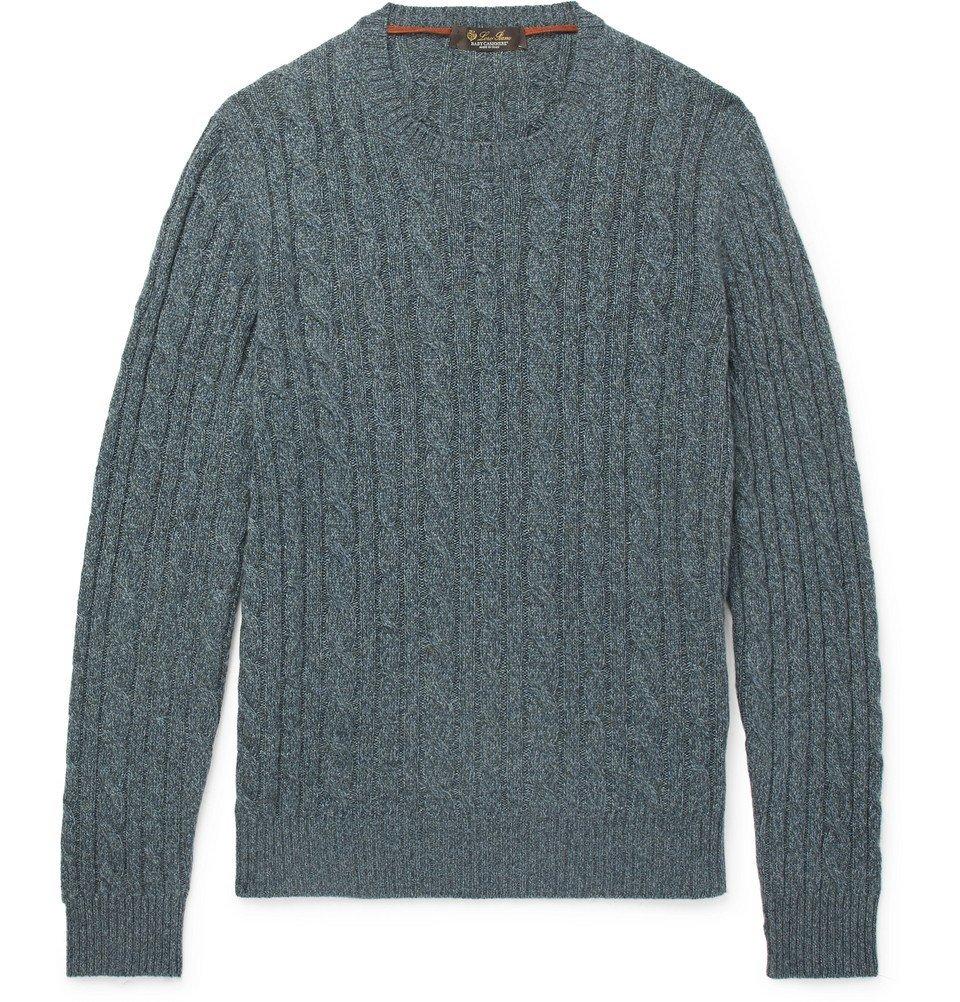 77c129343 Loro Piana - Slim-Fit Cable-Knit Mélange Baby Cashmere Sweater - Men ...