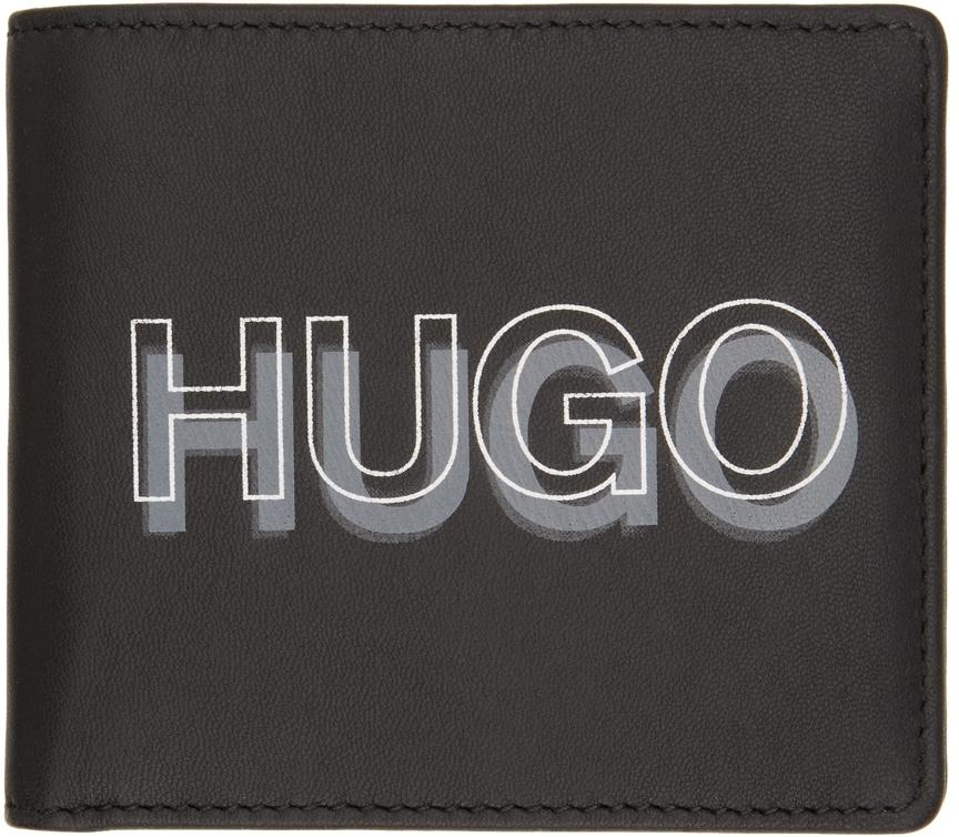 Photo: Hugo Black Logo Bifold Wallet & Card Holder Set