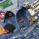 KAPITAL - Bob Marley Appliquéd Embellished Distressed Denim Jacket - Blue