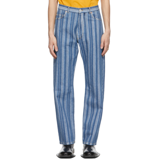 Martine Rose Blue and White Stripe Relaxed Jeans