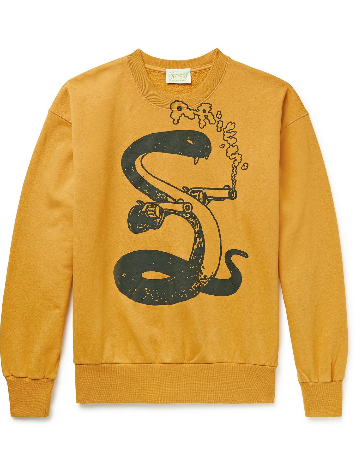 Photo: Aries - Killa Snake Printed Cotton-Jersey Sweatshirt - Yellow