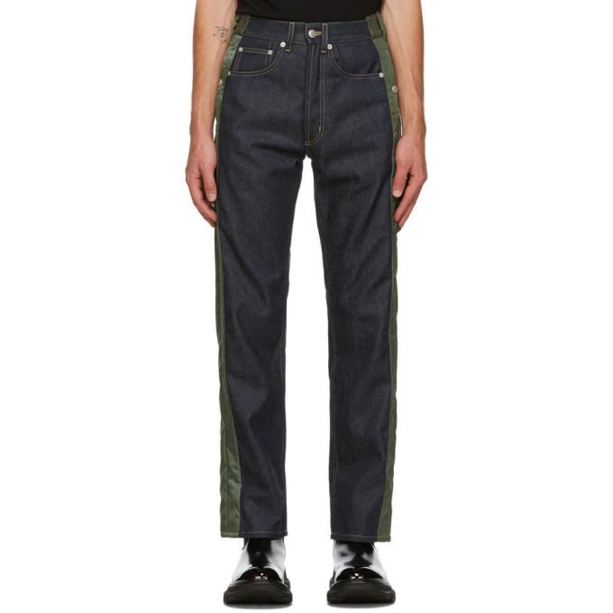 Photo: Alexander McQueen Blue and Khaki Hybrid Jeans